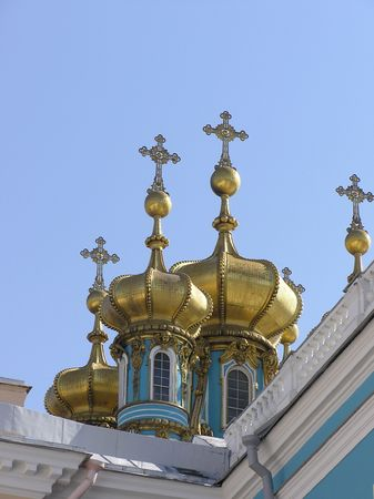 Golden cupolas on the sky photo