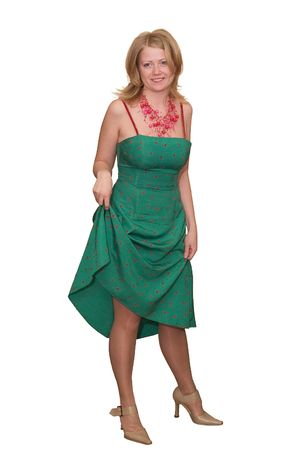 Young fair-haired lady in a green dress on a white background Stock Photo - 451857