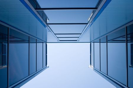 Glassed blue constructions