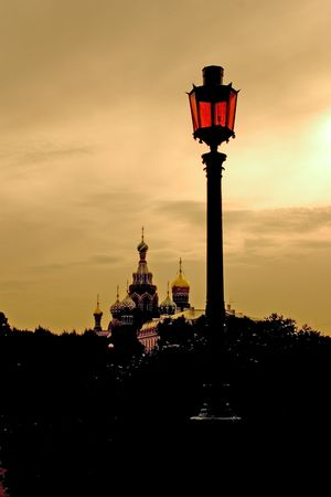 St Petersburg. A view of the Temple-on-the-Blood from the Mars Ground Stock Photo