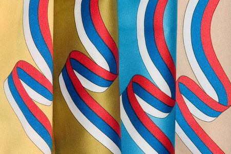 tricolour: Fabrics with print of tricolour ribbons