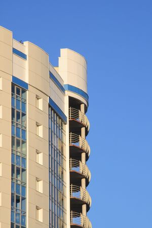 High-rise building against clear blue sky Stock Photo - 702993
