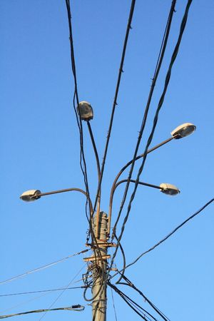 Street lamp and cables against clear blue sky Stock Photo - 702991