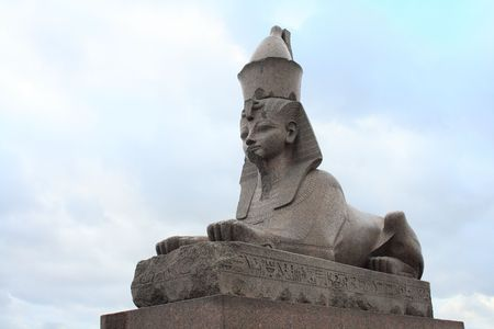 sightseeng: Granite Egypt sphinx on the Neva River embankment. St.Petersburg, Russia Stock Photo