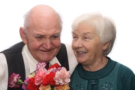 jubilate: Senior couple with bunch of flowers, isolated on white background