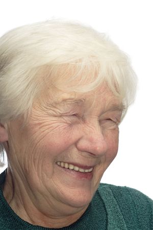 wizen: Old woman laughing, isolated on white background Stock Photo