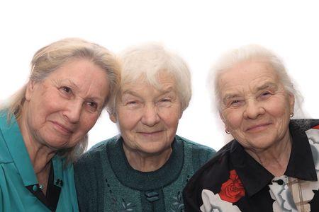 Tre vecchie donne sorridenti, isolata su sfondo bianco  Archivio Fotografico - 738352
