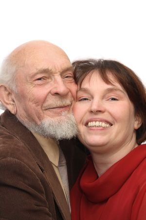 Senior man and middle-aged woman, smiling cheek to cheek, isolated on white background
