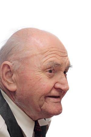Portrait of bald elderly man, isolated on white background photo