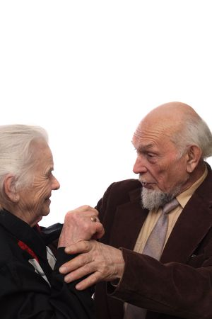 Elderly woman and man meeting after long having-not-seen each other Stock Photo - 763885