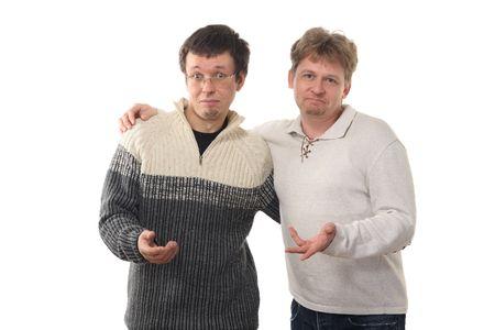 decepci�n: Dos hombres a cabo la celebraci�n de las manos, con expresi�n de decepci�n en caras, aislados en fondo blanco