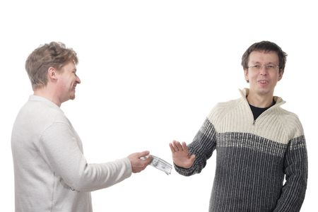 Man refusing money offered by his partner, isolated on white background photo