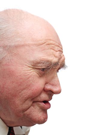Side-view of bald senior man, isolated on white background