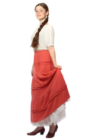 underskirt: Young girl posing in red skirt and white petticoat, isolated on white background