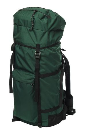 packsack: Packaged green backpack, isolated on white background