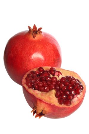 Pomegranate fruit and a half, isolated on white background Stock Photo - 3364283