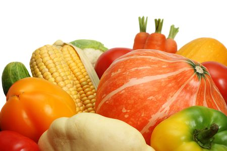 Autumnal vegetables, close up, isolated on white background