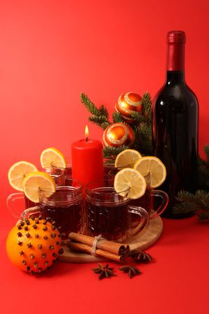 Christmas still life. Mulled wine and spice