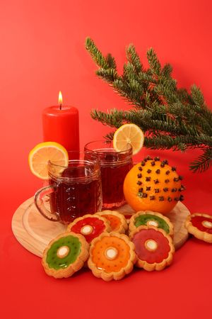 Christmas still life. Mulled wine and cookies Stock Photo