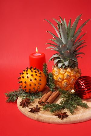 Christmas still life. Fruits and spice Stock Photo