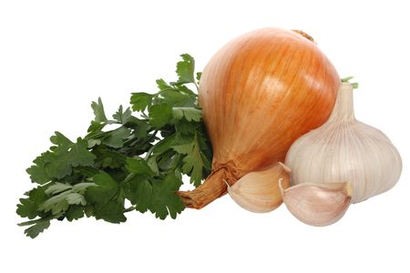 Garlic, onion and parsley, isolated on white background