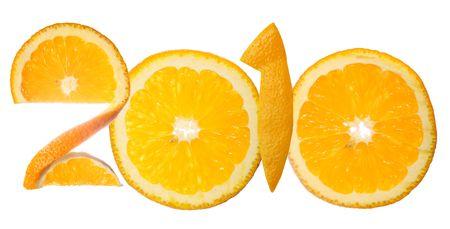 Number 2010 made of orange slices, isolated on white background