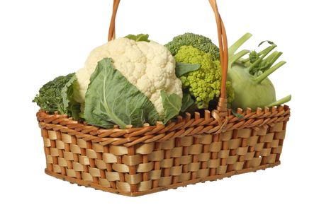 Different cabbage varieties in a basket, isolated on white background