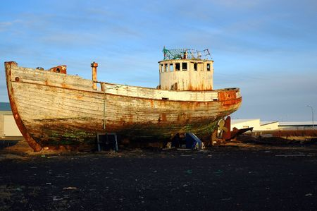beached: Icelandic fishing boat, beached and broken