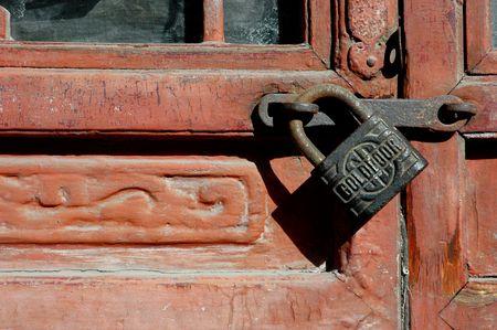 hasp: Locked door Stock Photo