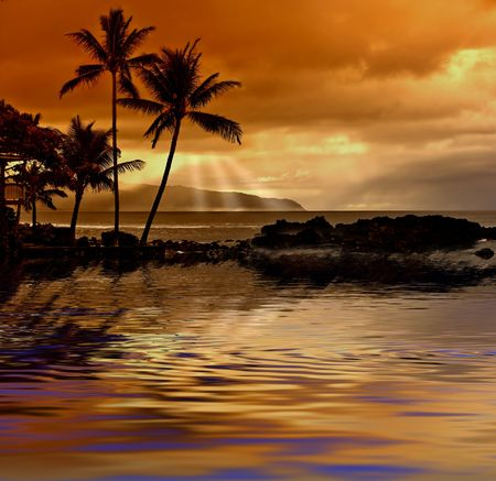 hawaii sunset: Hawaiian tropical sunset Stock Photo