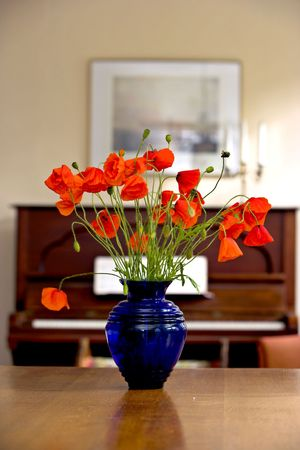 Flowers and piano photo