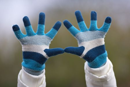 Winter hands making signs Stock Photo - 589175