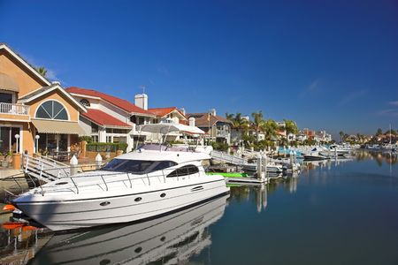 Private harbor, boats and luxury houses