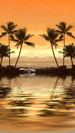 Image of a , warm tropical sunset photo