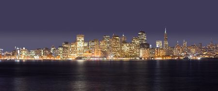A panorama photo of San Francisco at night time photo