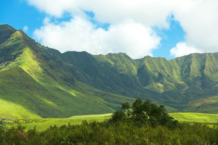 the silence of the world: Panoram photos of Hawaiian landscape (Oahu) Stock Photo