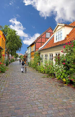 cobbled: Old Danish houses Stock Photo