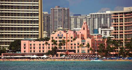 waikiki beach: Beach hotels in Waikiki, Honolulu Stock Photo