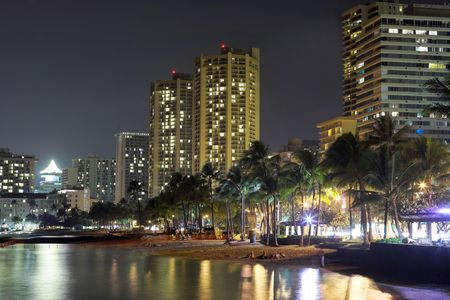 oahu: Waikiki at night (Honolulu, Oahu, Hawaii)