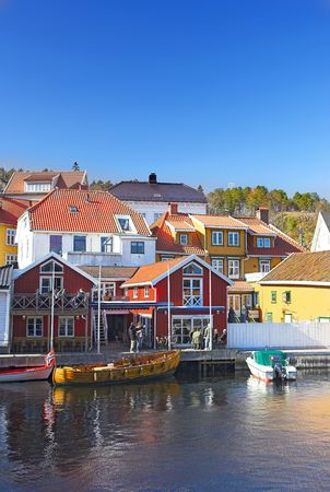 unspoiled: Photo of typical small town houses in Norway Stock Photo