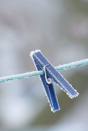 A photo of a clothes-pin a cold winte rday Stock Photo - 957089