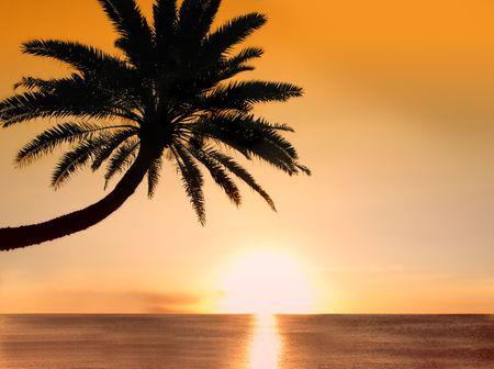 Icon photo of romantic, tropical beach at sunset Stock Photo - 965032