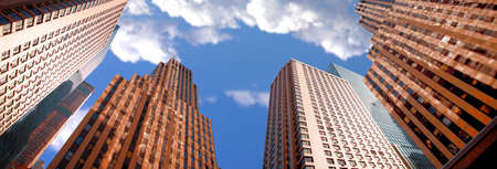 districts: A photo of skyscrapers in New York (icon photo) Stock Photo