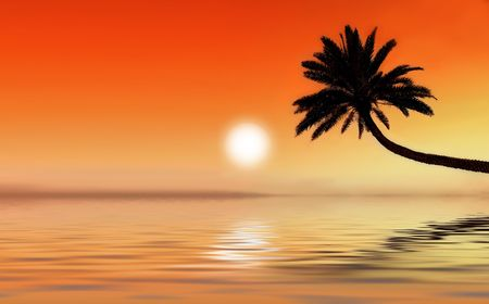 Icon photo of romantic, tropical beach at sunset photo