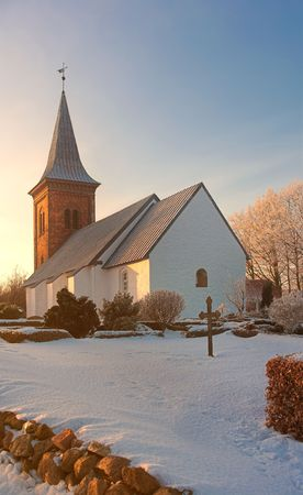 A photo of a Danish church in wintertime Stock Photo - 1280330