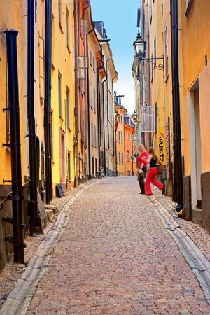 achitectural: A photo of achitectural details from the old part of Stockholm Stock Photo