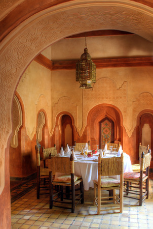 homelike: A photo of the dining hall in luxury, old style arab house (Morocco) Stock Photo