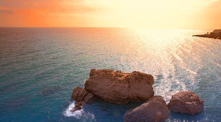Ocean sunset in Spain in October photo