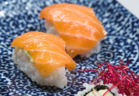 crusted: A photo of beautiful sushi - ready to eat
