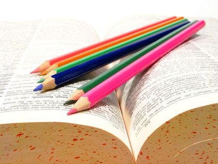 A group of colorful drawing pencils photo